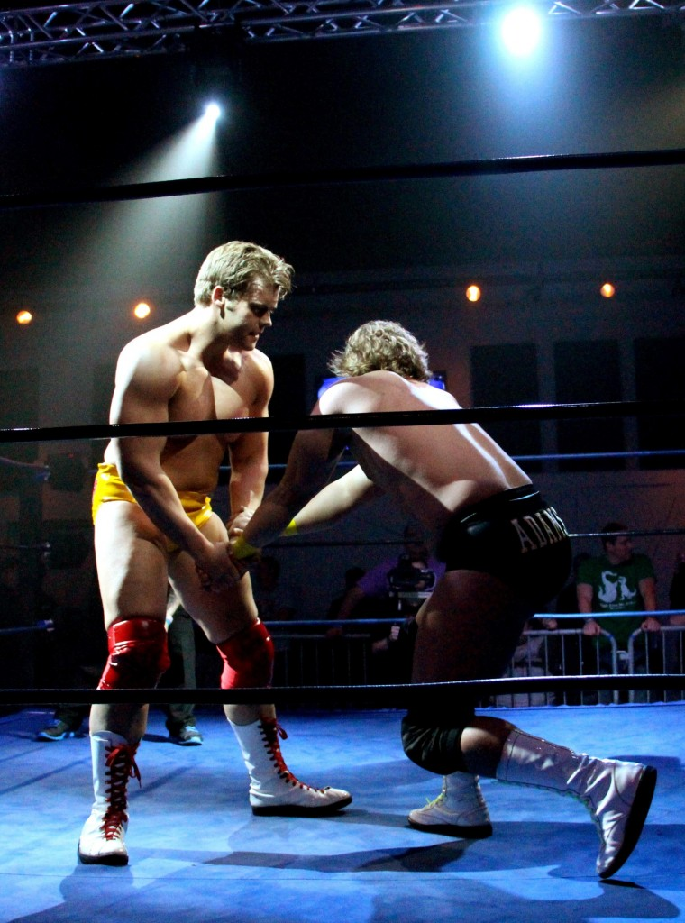 Ben Smith and Wes Adams compete in Brewsky Brawl, a wrestling event, on Thursday April 4, 2013 in Hattiesburg. Photo credit: April Garon