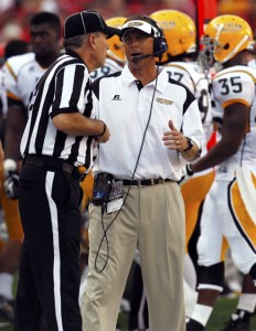Southern Mississippi Golden Eagles head coach Todd Monken talks to an official during the game against the Nebraska Cornhuskers during the second quarter at Memorial Stadium. Bruce Thorson/US Presswire