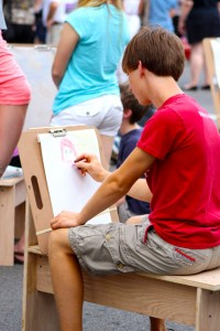 Easels set up at the Art Walk in Downtown Hattiesburg on Saturday evening were open for artists of any age and skill level to showcase their artistic talents. Kara Davidson/Printz