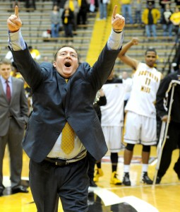 USM men's basketball coach Donnie Tyndall celebrates 63-52 victory over La. Tech in the 2013 National Invitational Tournament in Reed-Green Coliseum. Jamie Gominger/Printz