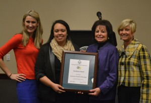 CPC leaders proudly receive the National Panhellenic Council Excellence Award Jan. 26. Southern Miss CPC was only one of 15 schools to receive this award. From left to right: Melissa Sharp, Elena Lofton, Bonnie Warren and Phyllis Davis. Jamie Gominger/Printz