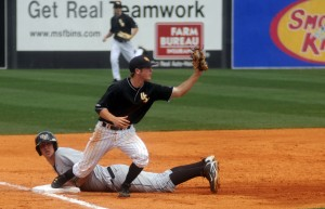 Junior shortstop Michael Sterling steps on the base to retire the side in a game against The University of Central Florida. Printz Archives