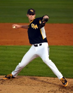 Southern Miss starter Cody Carroll (1-0) threw five strong innings for the Golden Eagles, allowing just one run on four hits with a walk and a career-high five strikeouts to get the victory over ULM Tuesday, March 18. Kara Davidson/Printz