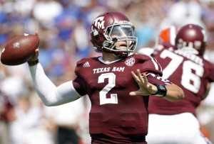 Sept. 8, 2012; College Station, Texas; Texas A&M Aggies quarterback Johnny Manziel (2) throws a pass against the Florida Gators in the first quarter at Kyle Field.  Brett Davis-USA TODAY Sports