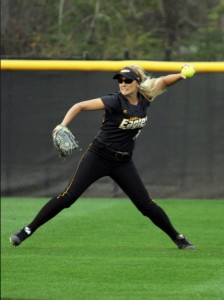 Katie Cleary began the inning with an RBI single to left field at the doubleheader matchup against Troy University this weekend.  Courtesy Photo