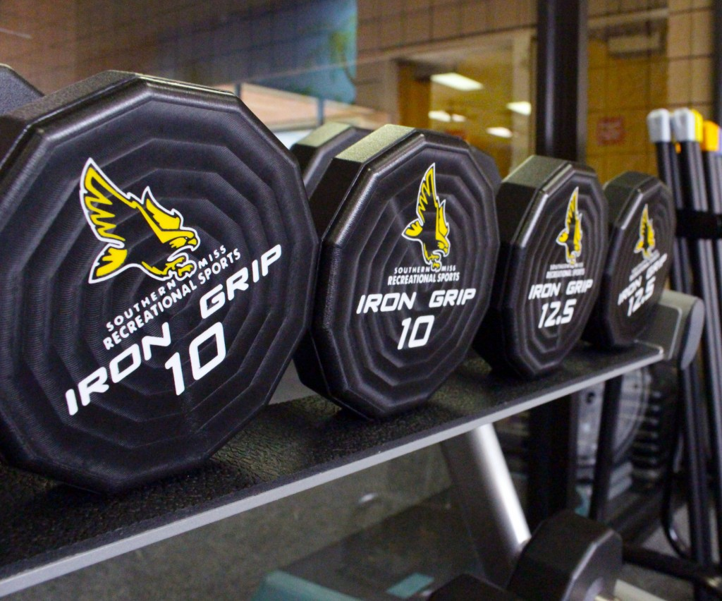 New weights in the Payne Center embody Golden Eagle pride by featuring an eagle logo on each side. The Payne Center recently underwent renovations that includes new workout equipment.