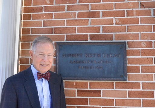 50 years ago yesterday, an atomic bomb was tested in a town just west of Hattiesburg.  Dr. Aubrey K. Lucas stands next to a diagonal crack it caused in the brick on the administration building at the front of campus.