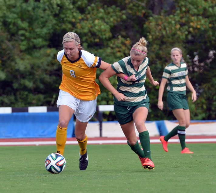 Senior Brooke Hendrix scurries with the ball as the Eagle's played against UAB, October 3rd.  Southern Miss' soccer team falls to Western Kentucky on Sunday at home. 2-0. -Susan Broadbridge/Archive