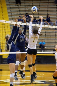 Sophmore Stephany Purdue defends against Rice. The Lady Eagles were defeated by Rice at their game on Friday, September 26, 2014. -Jesisca King