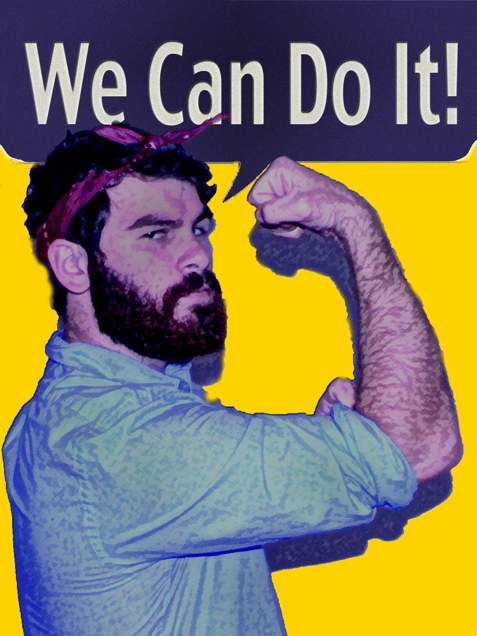A photo illustration of Rosie the Riveter depicts the male participation and support of feminism and women's rights.  - Aaron J. Stewart/The Student Printz