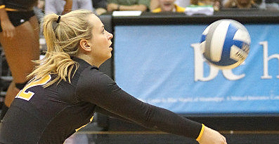 Red-shirt Sophomore Shelby Russell goes for the ball during a Southern Miss home game during October of this season. -Courtesy Photo