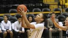Tamara Jones goes for the basket as the lady eagles beat Rice last week in the Reed Green Coliseum. -Courtesy Photo