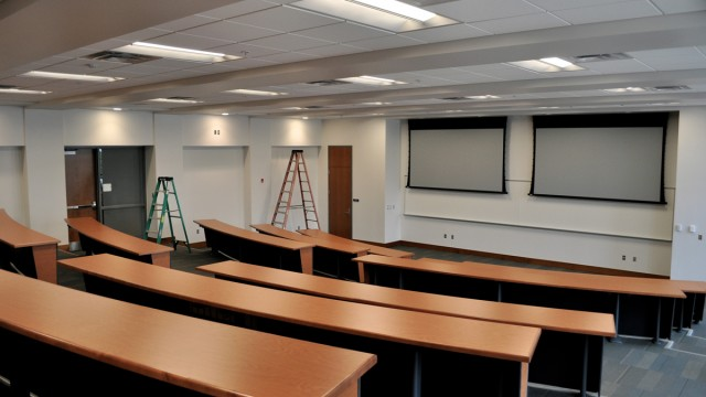 """Classrooms in Scianna Hall are tiered with """"modesty tables."""" Lecture halls are to have new multimedia components and technology to allow for interactive teaching sessions."""