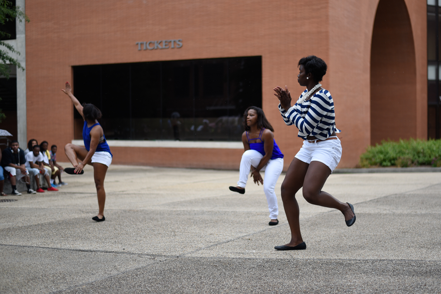 The Women of the Lambda Theta chapter of Zeta Phi Beta, Inc. step at Coolin' With the Zetas back to school social, Wednesday August 19, 2015, which is the first NPHC event held this 2015-16 school year. Courtland Wells/ Student Printz