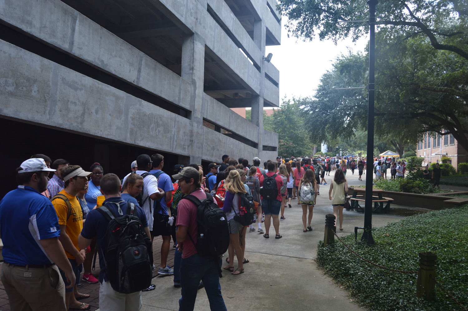 Southern Miss students gather in line to receive tickets to the Southern Miss vs. Mississippi State football game Friday Morning, August 21, 2015. Southern Miss is scheduled to play Mississippi State September 5th at home.