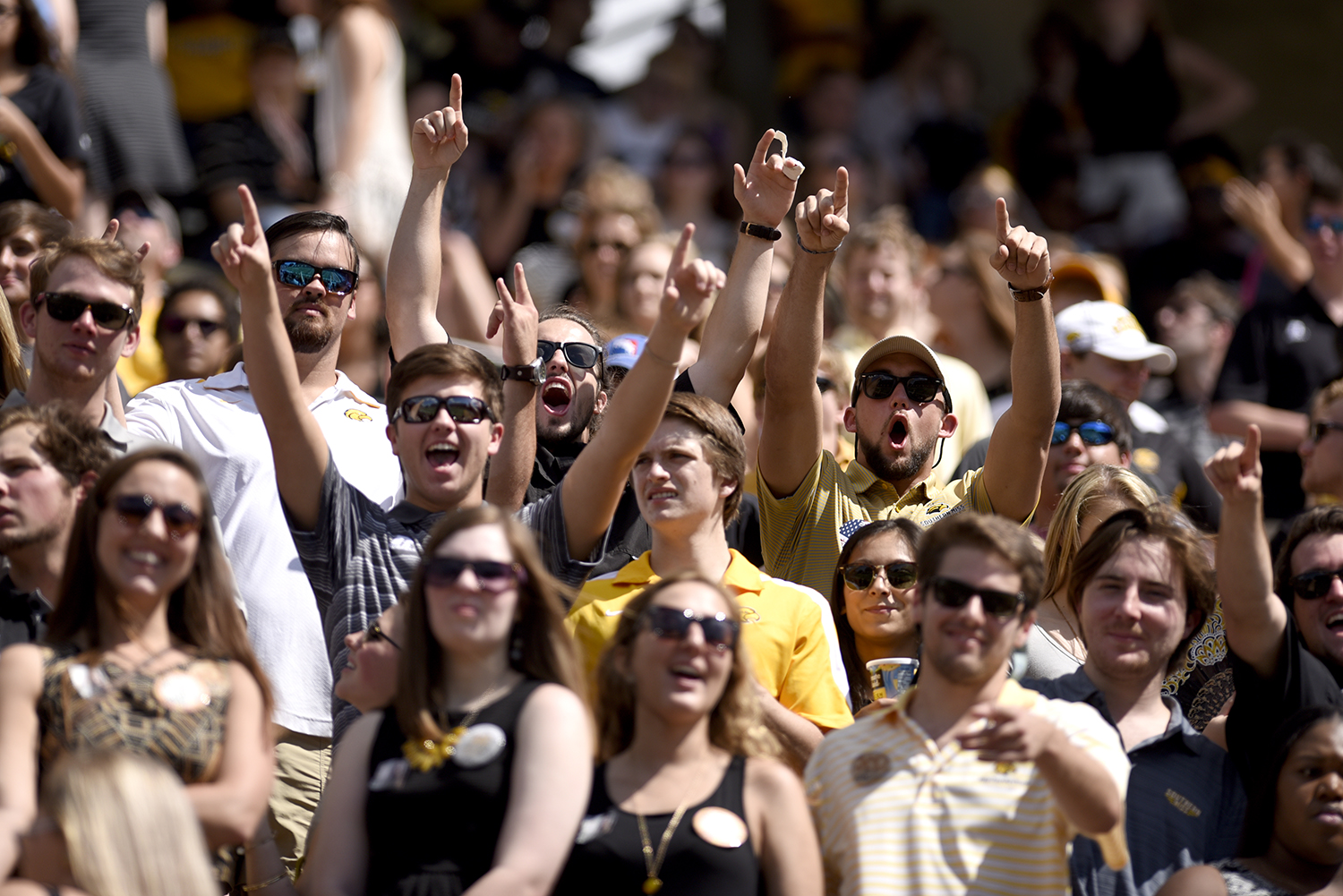 Fans celebrate during the football game against Austin Peay