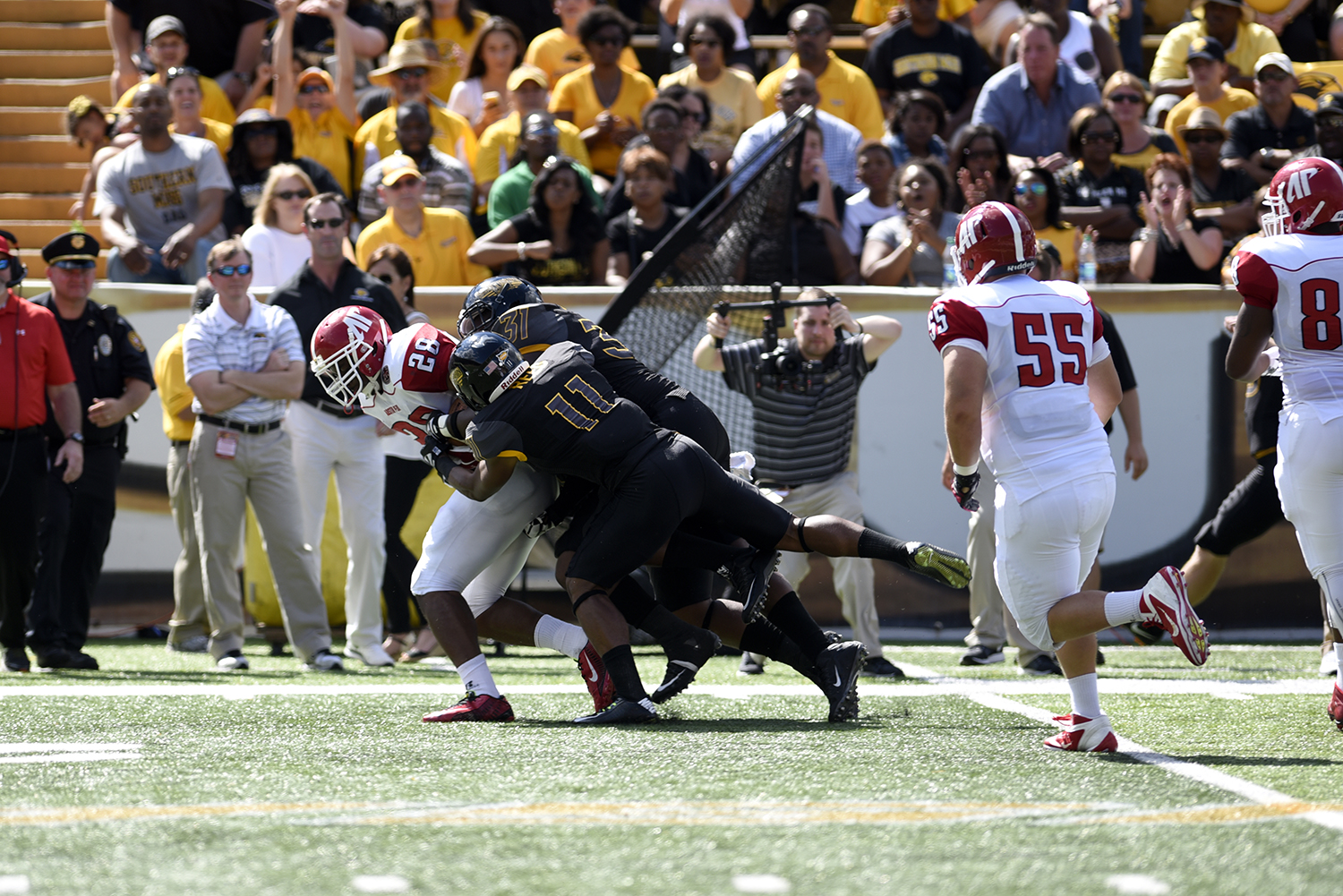 Southern Miss tackles Taye Davis on a running play. The Golden Eagles won against the Governors 52-6 Sept 12, 2015.