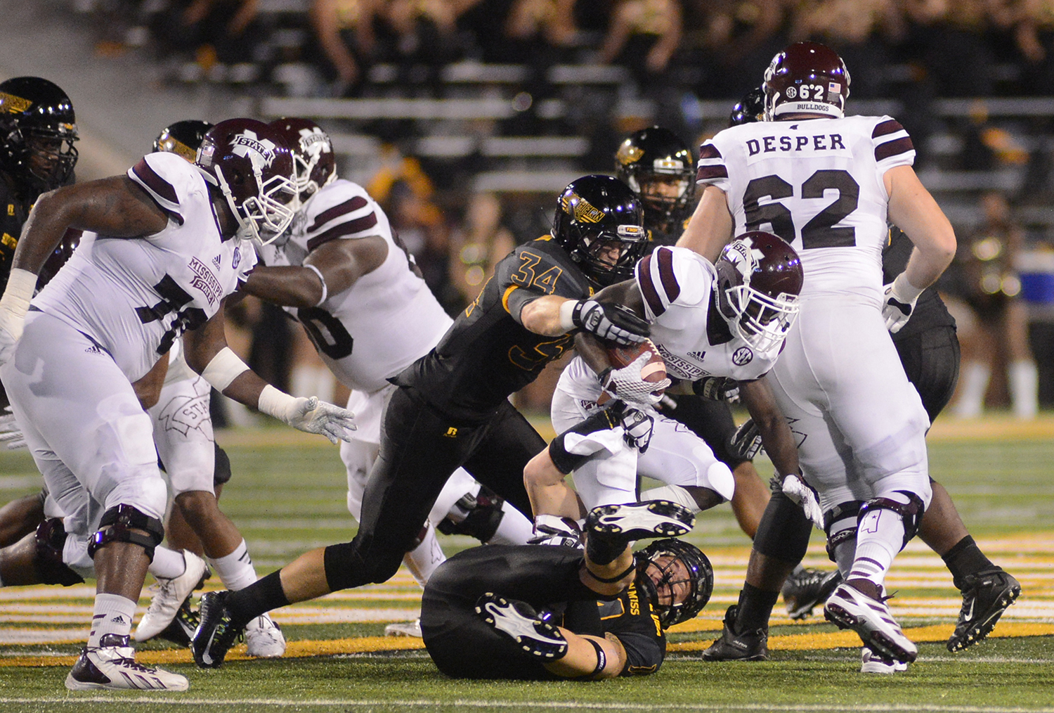 Southern Miss linebacker Evan Osborne brings down Mississippi State offense during the game played in Hattiesburg on Saturday night. Mary Alice Weeks/Student Printz