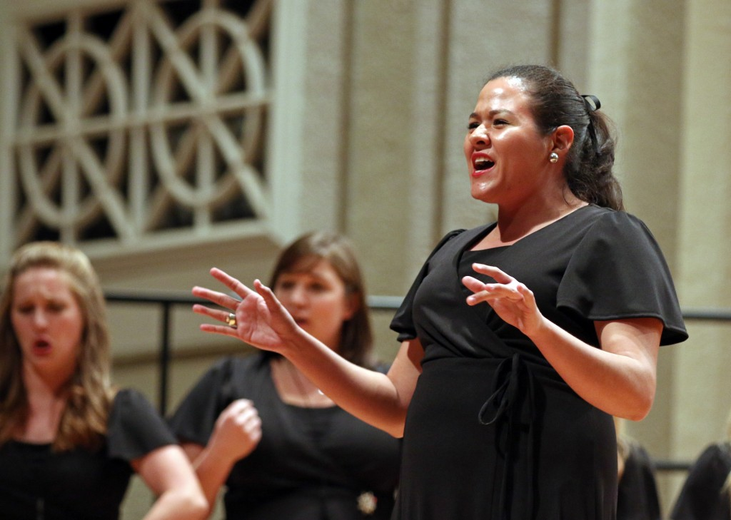 "The Southern Miss Showcase Concert of the Southern Invitational Choral Conference 2015 was held at Bennett Auditorium on the USM campus Monday, September 28, 2015.  Ana Ruth Cortes, of the Southern Belle Tones, sings ""Break Free."" Fadi Shahin/Student Printz"