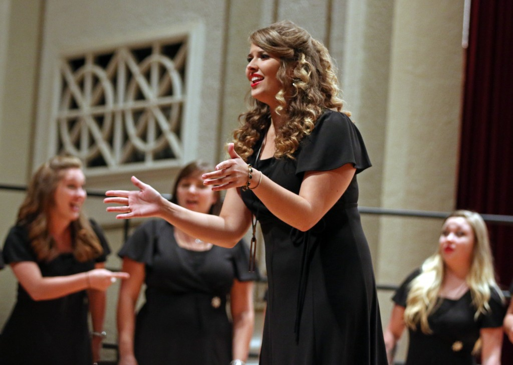 "The Southern Miss Showcase Concert of the Southern Invitational Choral Conference 2015 was held at Bennett Auditorium on the USM campus Monday, September 28, 2015.  Emily Gruzinskas, of the Southern Belle Tones, sings ""Break Free."" Fadi Shahin/Student Printz"