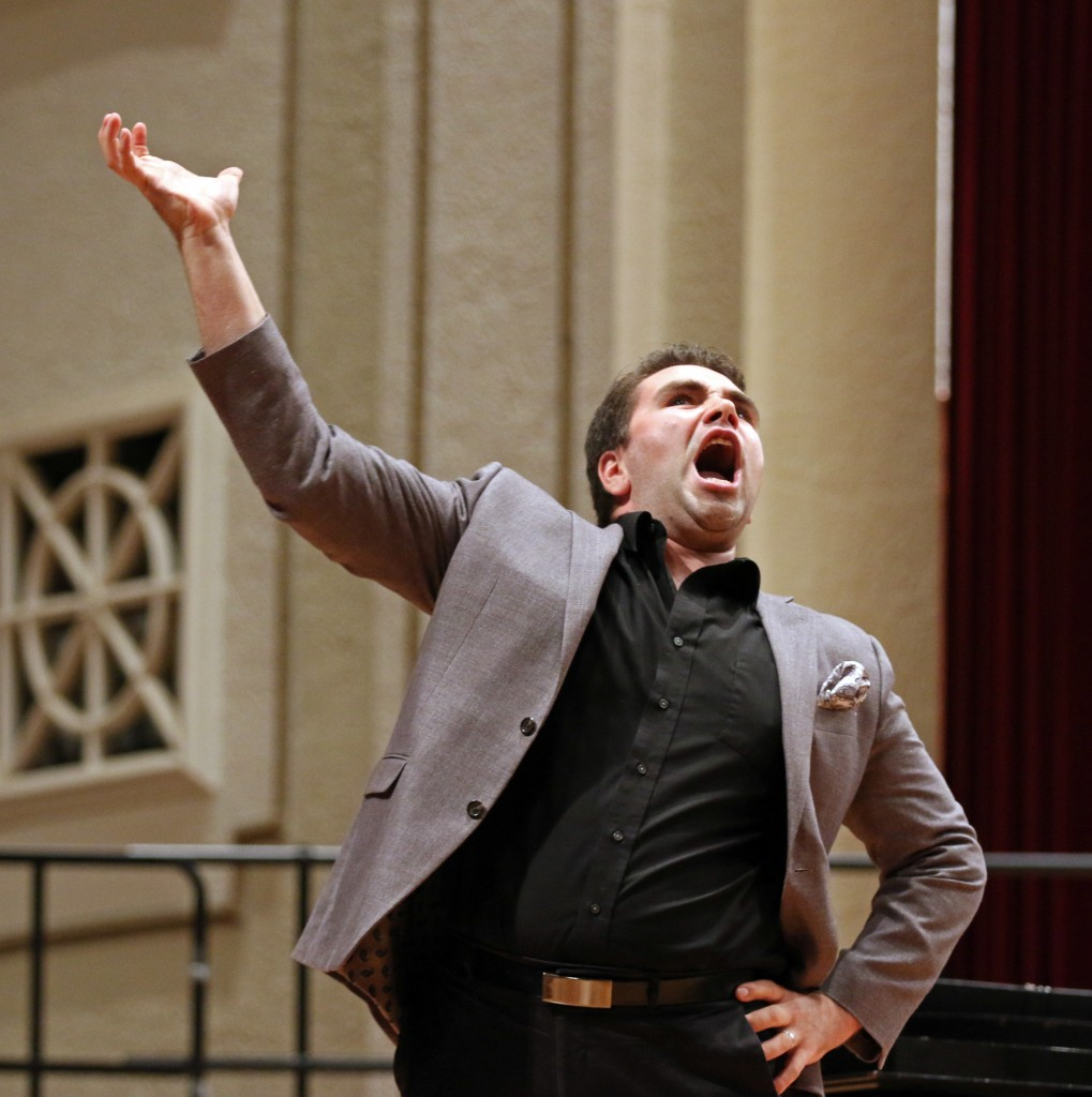 "The Southern Miss Showcase Concert of the Southern Invitational Choral Conference 2015 was held at Bennett Auditorium on the USM campus Monday, September 28, 2015.  Peter Lake sings ""I Am Aldolpho"" from The Drowsy Chaperone. Fadi Shahin/Student Printz"