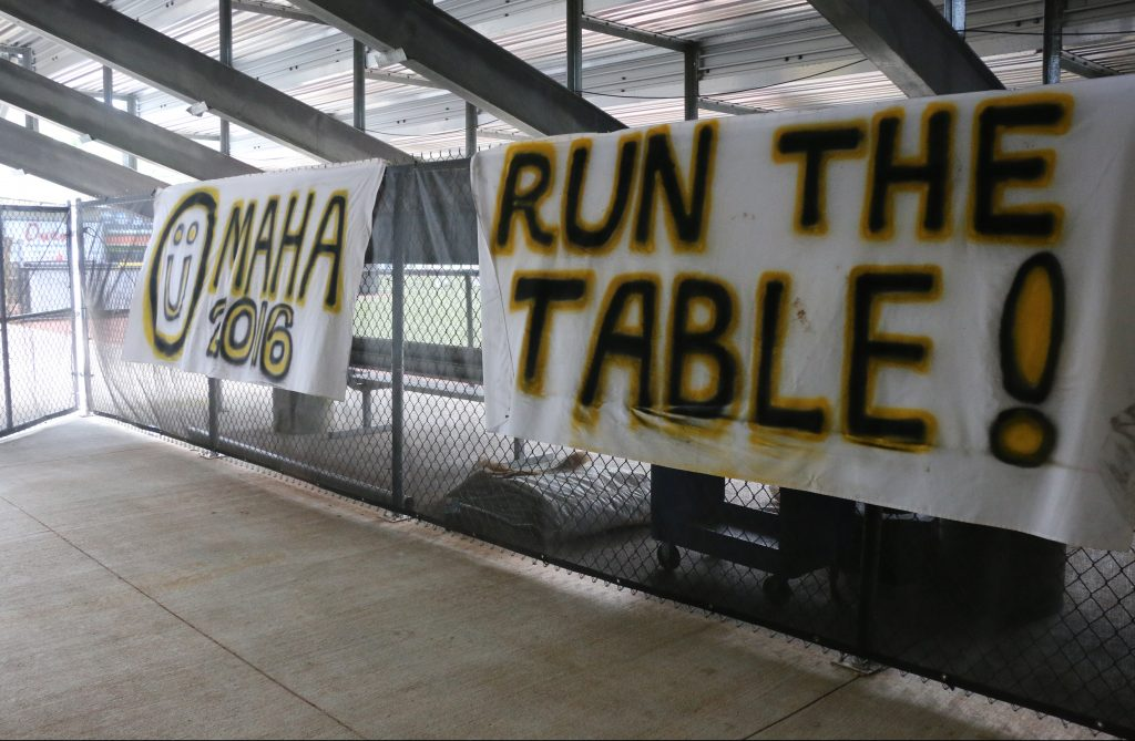 Signs posted at Pete Taylor Park in hopes of Southern Miss returning to NCAA Regional.