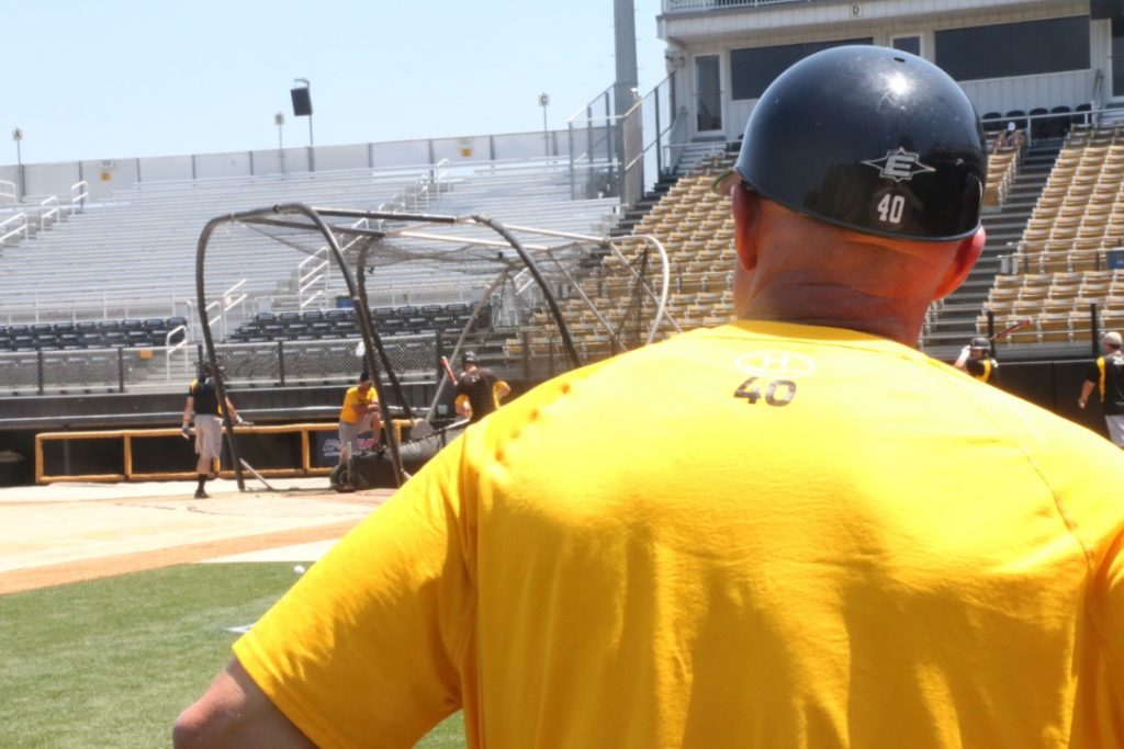 Coach Scott Berry onlooks batting practice on Wednesday, May 24.