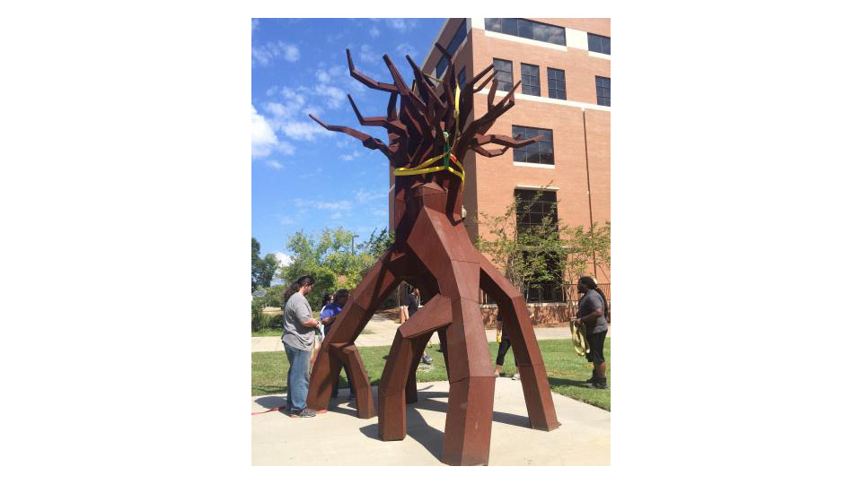 college of arts and letters installs new sculptures