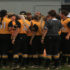 The Lady Eagle softball team huddles together during the USM-Miss. St. game on Mar. 28 at the USM Softball Complex.