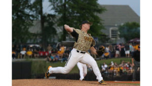 Pitcher Taylor Braley looks to pitch a strikeout against Ole Miss Rebels on April 11.
