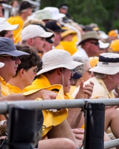 Golden Eagles fans in the stands watch  the game