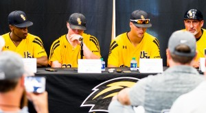 USM Golden Eagles give a press  conference after their second win in the tournament