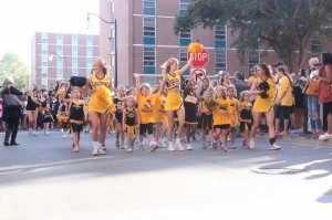 Young Southern Miss Fans who participate in the Cheer Clinic hosted USM cheer during Eagle Walk on Oct. 29.
