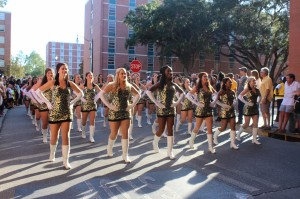 Dixie Darlings march through the Quad during the Eagle Walk on Oct. 29.
